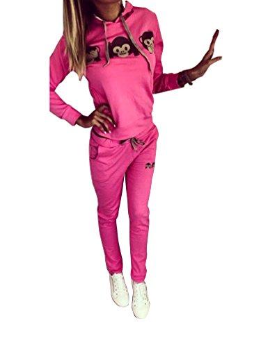Baymate Damen Trainingsanzug Affe Muster Drucken Hoodie Sweatshirt Anzug mit Hose 2pcs Rose M (Anzüge Für Frauen)