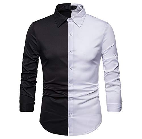 Luckycat Herren Herbst Winter Lässig Farbe Patch Schlank Langarm Shirt Top  Bluse Mode 2018 4a43006e39