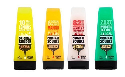 Original Source Gels Douches Set 4 x 250 ml Exotique Parfum mangue, citron & Tea Tree, vanille & Fraise, menthe & Tea Tree