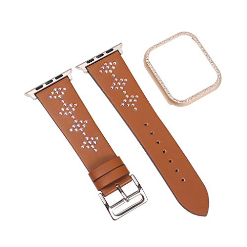 xue binghualoll Für Apple Watch 4 Series Leder Ersatz Armband + Rahmen 44mm