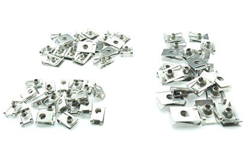 Tech-Parts-Koeln 60 Blechmuttern Verkleidungsclips Clip Schnappmutter M4 M5 M6 Metrische Gewinde rostfreier Edelstahl A2