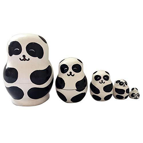 Womdee Russische Nistpuppen, 5 Stück, handgefertigte Holz-Tierpuppen, russische Wunschpuppen, Matryoschka-Puppen, für Kinder, Weihnachten, Geburtstag, Heimdekoration Pandas