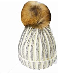 e6adbcadc46 KGM Accessories Luxury Knitted Double Diamante bobble hat with Faux fur pom  (White)