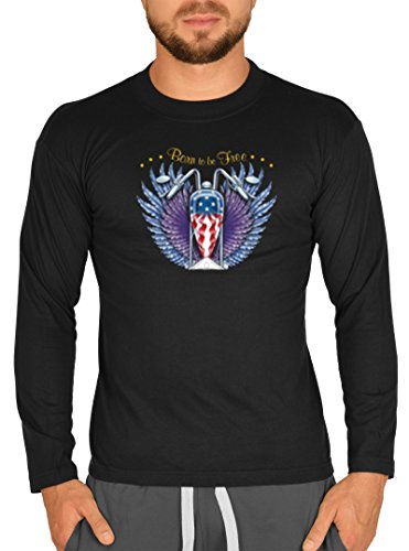 Langarm Herren T-Shirt USA Biker Motiv Born to be Free Bike Langarmshirt für Biker Rock Longshirt für Männer Männershirt Laiberl Leiberl Schwarz