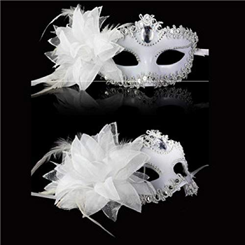 Masquerade Maske Kostüm White - QTJKH Horror Maske Venezianische Maskerade Venezianische Maske Venice Party Performance Kostüm Sex Lady Mask Masquerade @ White