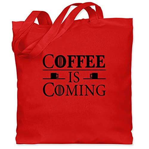 Shirtracer Nerds & Geeks - Coffee is coming - Unisize - Rot - WM101 - Stoffbeutel aus Baumwolle Jutebeutel lange Henkel
