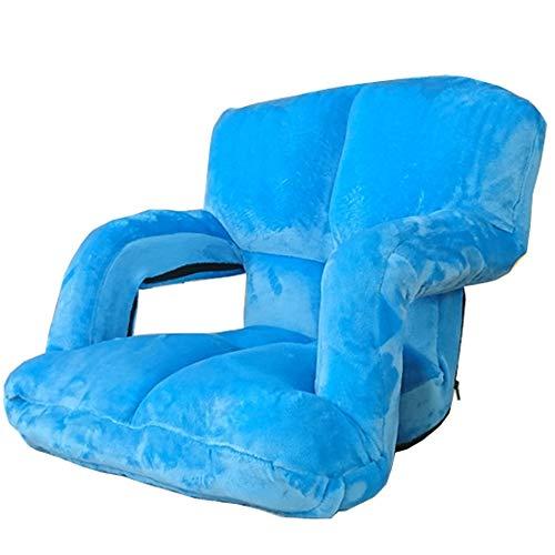 LJFYXZ Chaise de Sol Canapé Pliant Simple avec accoudoirs Réglage à 5 Vitesses Fauteuil Pliable Facile à enlever et à Laver Chaise d'ordinateur Multicolore en Option (Couleur : Bleu)