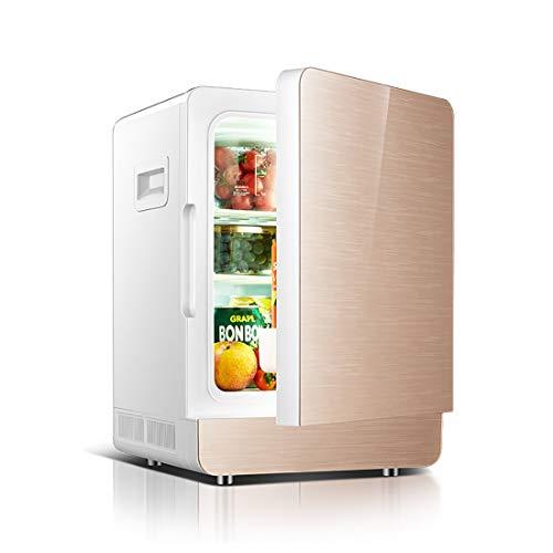 Kleiner Kühlschrank für den kleinen Gebrauch, 20L Fassungsvermögen des Heizkastens. Einzelne Kühlertür-Kühlgerät, Glasmaterial, 220 (V) ! (Color : Gold, Style : Single) - Doppel-tür Kompakt Kühlschrank