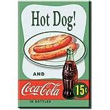 Hot Dog (2x3) und Coca Cola, Vintage, Retro, Combo 15 Cents Locker Kühlschrank-Magnet