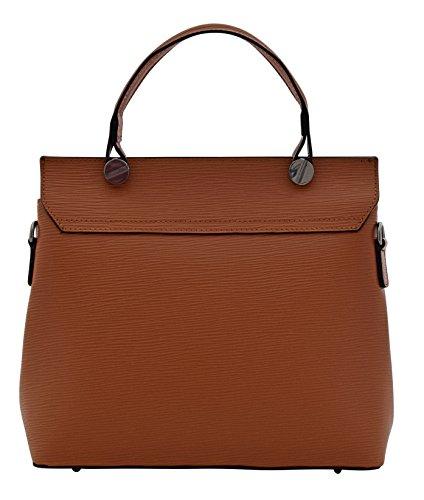 Leder Italy ELSA Echtes Made in Italienische Tasche Cognac Henkeltaschen Handtasche qqH1FO