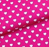 0,5m Stoff Herzen pink weiß Baumwolle Meterware Herz 1,4m