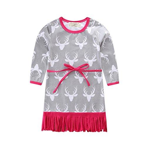 Baby Mädchen Troddel Kleid Weihnachten Langarm Elf Kopf Gedruckt T-shirt Tops Casual Outfit für 1-6 Jahre Kleines Mädchen Durch (Kostüme Stück Mädchen 2 School)