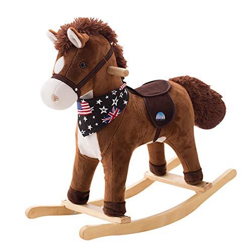 Lvbeis Baby Gross Schaukelpferd Holz PlüSch Rocking Horse Toy Schaukeltier Mit Sounds & Moving Mund Und Schwanz