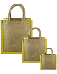 JO'S Jute Bag For Grocery,Shopping,Lunch Bag,Gift Bag ,Multi Purpose Bag (Small,Medium & Large) (Yellow)
