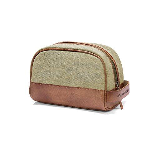 DRAKENSBERG Kimberley Dopp Kit, sac éponge, trousse de toilette, sac de toilette, nécessaire, toile, canvas, cuir de buffle, vintage, beige, marron