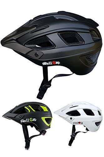 Skullcap Fahrradhelm  MTB Helm  Mountainbike Helm  Herren & Damen  Schwarz/Neon-Grün matt  Visier/Helmschild (Black, L)