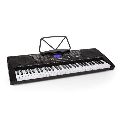 Schubert Etude 255 Keyboard elektrisches Klavier (61 Tasten, Leuchttasten, Anschlagdynamik, Aufnahme- und Playback-Funktion, 3 Lernmodi, AUX, USB-Port, 50 Demo-Songs) schwarz