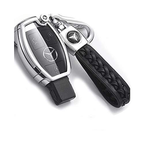 JUNHAO Autoschlüsseletui für 18 Mercedes-Schlüsseltasche C200l / c-Class Autoschlüsselsatz Glc260 All-Inclusive Glk300 / gla200 Schwarz Rot Blau Silber Optional,Silver