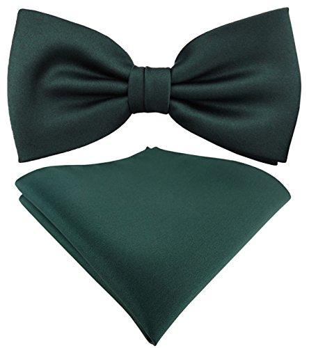 schöne TigerTie Satin Fliege + Einstecktuch in grün dunkelgrün moosgrün Uni einfarbig + Geschenkbox