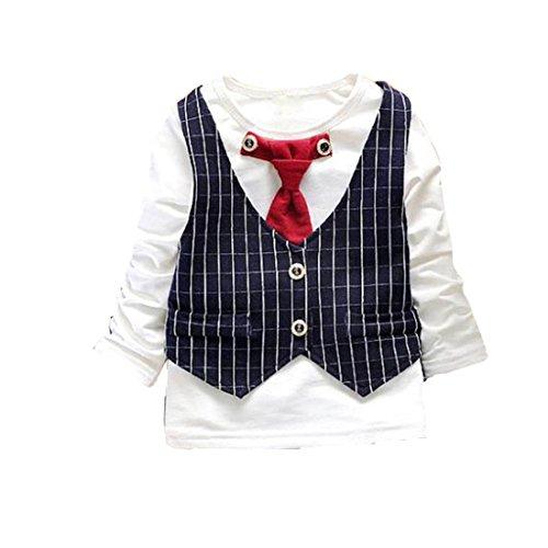Ouneed® Kinderkleidung , Jungen Outfit Kleidung Karo Weste Krawatte Hemd Tops + Lange Hosen Hosen 1 Satz (110, Marine) (Karo-paisley-krawatte)