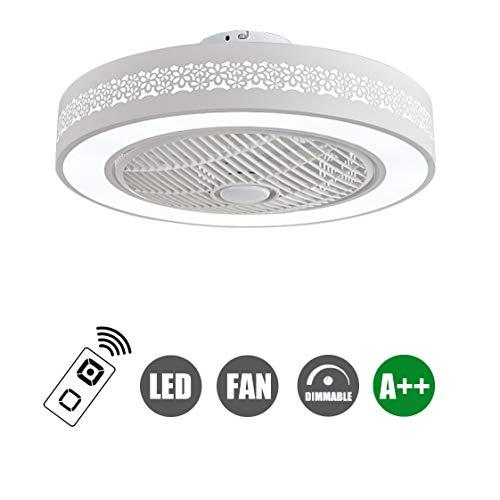 SFOXI Deckenventilator mit Fernbedienung Fan Deckenventilator LED Licht, Einstellbare Windgeschwindigkeit, Dimmbar für Schlafzimmer Wohnzimmer Esszimmer, 72W, Ø55cm - Ruhiges Mit Licht Bad-fan