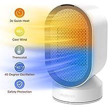 dodocool Mini Ventilador Eléctrico/Calefactor Eléctrico bajo Consumo, Portátil Ventilador Calefactor PTC Cerámica,
