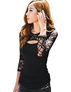K-youth® Camiseta Para Mujer, Mujer Camisa Casual Slim Tops Blusa Barata Atractivas Blusas Mujer Encaje Elegante...