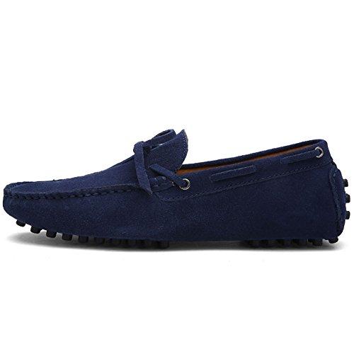 Herren Klassische Slip-on Wildleder Loafers Fahren Halbschuhe Mokassin Lederschuhe Bootsschuhe Marineblau
