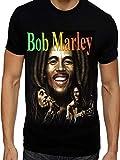 Dalsa Maglietta Bob Marley con cantante giamaicano Reggae Music Legend Black 1 M