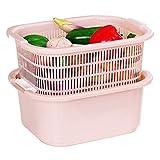 YSCCSY Doppel Waschkorb Haushalt Undicht Becken Plastik Küche Undicht Gemüse Becken Abfluss Korb Frucht Becken (1 Stück, Zufalls Farbe)