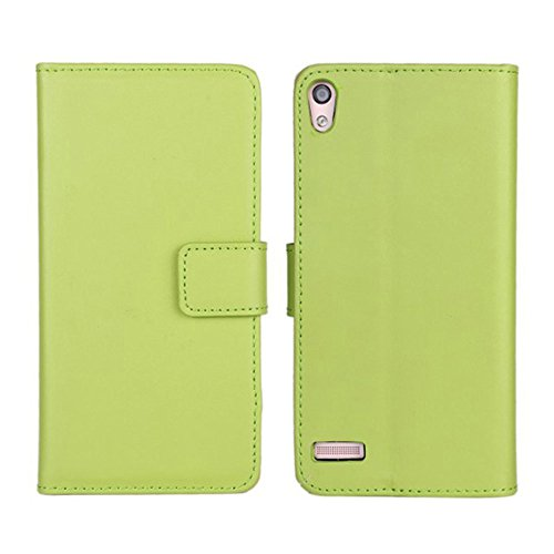 Ascend P6 Custodia,COOLKE [Verde] Flip Protettiva Custodia Moda PU Pelle Stand Custodia Case Cover Per (Pronto Basamento Della Bandiera)