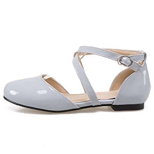 COOLCEPT Femme Mode Croise sandales Plat Bout Ferme Chaussures taille Gris