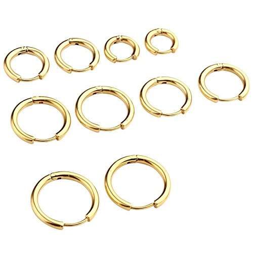 PiercingJ Paar Unisex 8-16mm Edelstahl Hoop Creolen Hinged Huggie Helix Tragus Ohrring Ohrpiercing Silber Gold Schwarz 18G (Gold Set#1, 08-16mm) (Endless Hoop Ohrringe 14mm)