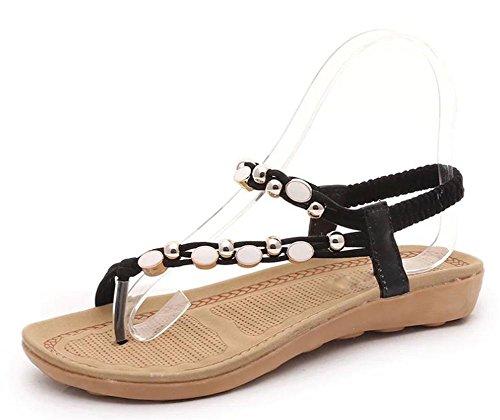 Sommer Sandalen Frauen wulstige Klippzehe flache Sandalen Black