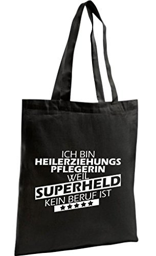 Shirtstown Shopping Bag Organic Zen, Shopper Ich bin Heilerziehungspflegerin, weil Superheld kein Beruf ist, Farbe schwarz (Zen-damen-tasche)