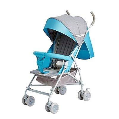 Baby carriage ☝YEC Toddler Summer Stroller, Foldable Lightweight, Adjustable Angle Full-faced Pram (color : Blue)