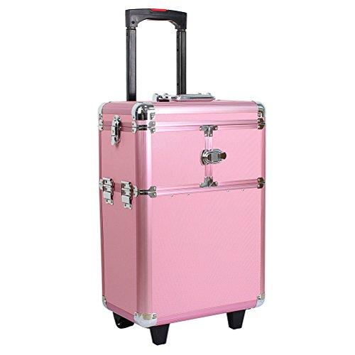 HBF Maleta De Maquillaje Profesional Rosa Multiuso Maletin Para Maquillaje Y Joyas Con Ruedas