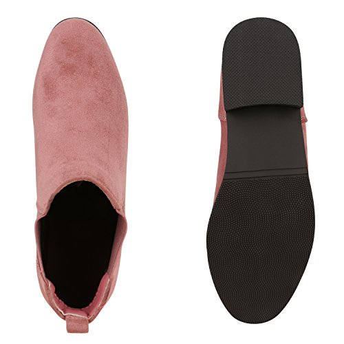 Klassische Damen Stiefeletten Chelsea Boots Lederoptik Schuhe Gr. 36-42 Altrosa