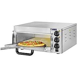 Royal Catering Four à Pizza Electrique RCPO-2000-1PE (2000W, argile réfractaire, pierre de cuisson, surface de cuisson de 40x40x1,5cm, fonction minuterie jusqu'à 120 min)