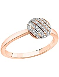 Pave Prive Women's 9ct Pink Gold Round White Diamonds Striped Circle Ring