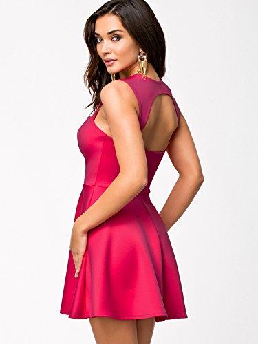 Purpura Erizo Femme Uni Robe Courte Forme Cintré Coupe-Bas Sans Manche Molle Rose