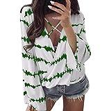 Qmber Damen Shirts Tees Tops Oberteile Oversize Pullover Sweatshirts Pulli Hoodie Elegant Hemden Langarm Blusen Tuniken, Loose Stripe überlappende Chiffon lässig(S,Grün