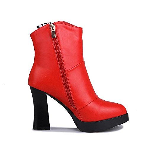 AllhqFashion Damen Niedrig-Spitze Rein Stiletto Blend-Materialien Spitz Zehe Stiefel, Rot, 36