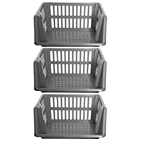 Large 3 Tier Stacking Baskets Storage Veg Rack Plastic Stackers 35cm - Silver