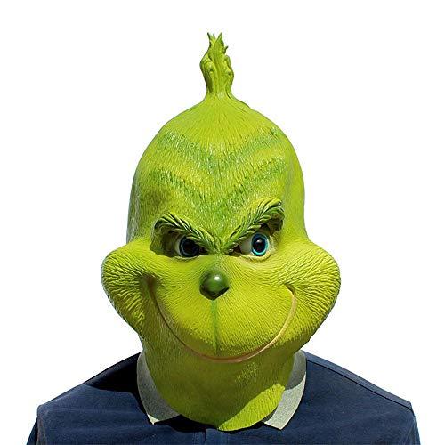 Grinch Kostüm Ein - AOLVO The Grinch Maske für Erwachsene, grüner Latex, für den ganzen Kopf, Kostüm, Kostüm, Kostüm, Kostüm, Kostüm, Cosplay, Requisiten, Zubehör