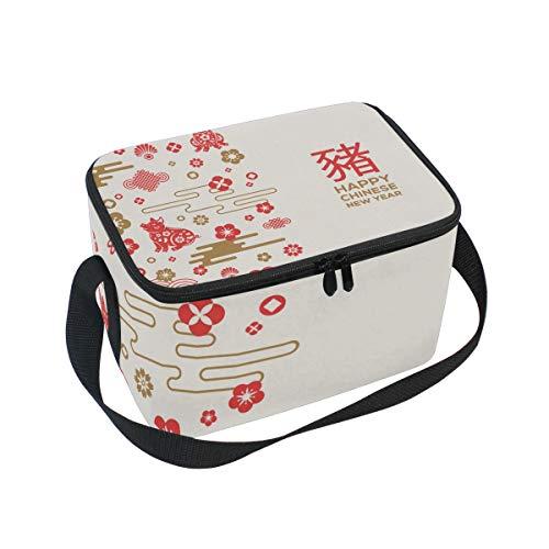 Happy Chinese New Year 2019 of the Pig Isolierte Lunchtasche Kühltasche Wiederverwendbare Tragetasche Outdoor Reise Picknick-Taschen