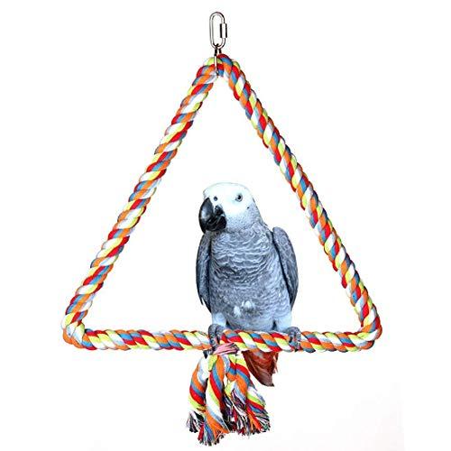 Hypeety Cuerda de pájaros Triangle Perch Ajustable para Loro y Gorras, Cuerda en Espiral para Jaula pequeña y Mediana