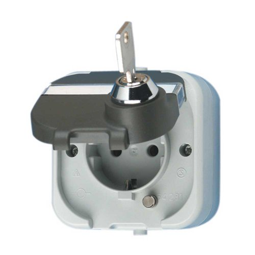 REV Ritter 0510224555 AquaTop AP-Steckdose mit Schloss, grau
