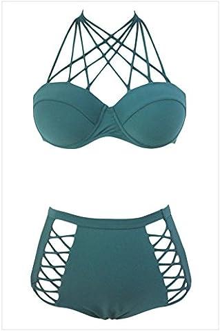 Bling-Bling Dress Women's Green Strappy Push-up High Waist Bikini Swimsuit