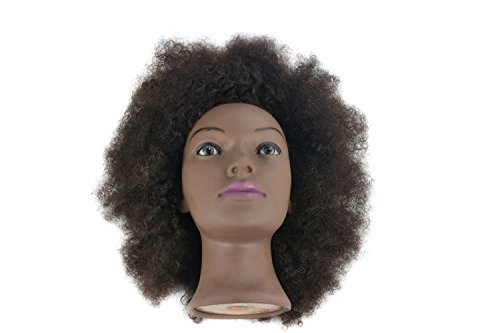Afro Training Head 100% Real Human Hair Hairdresser Styling Mannequin Manikin Dolls Head with Free Table Clamp